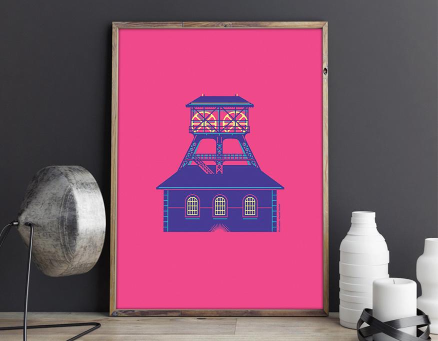Série d'affiches sur les puits de Mine dans la Loire