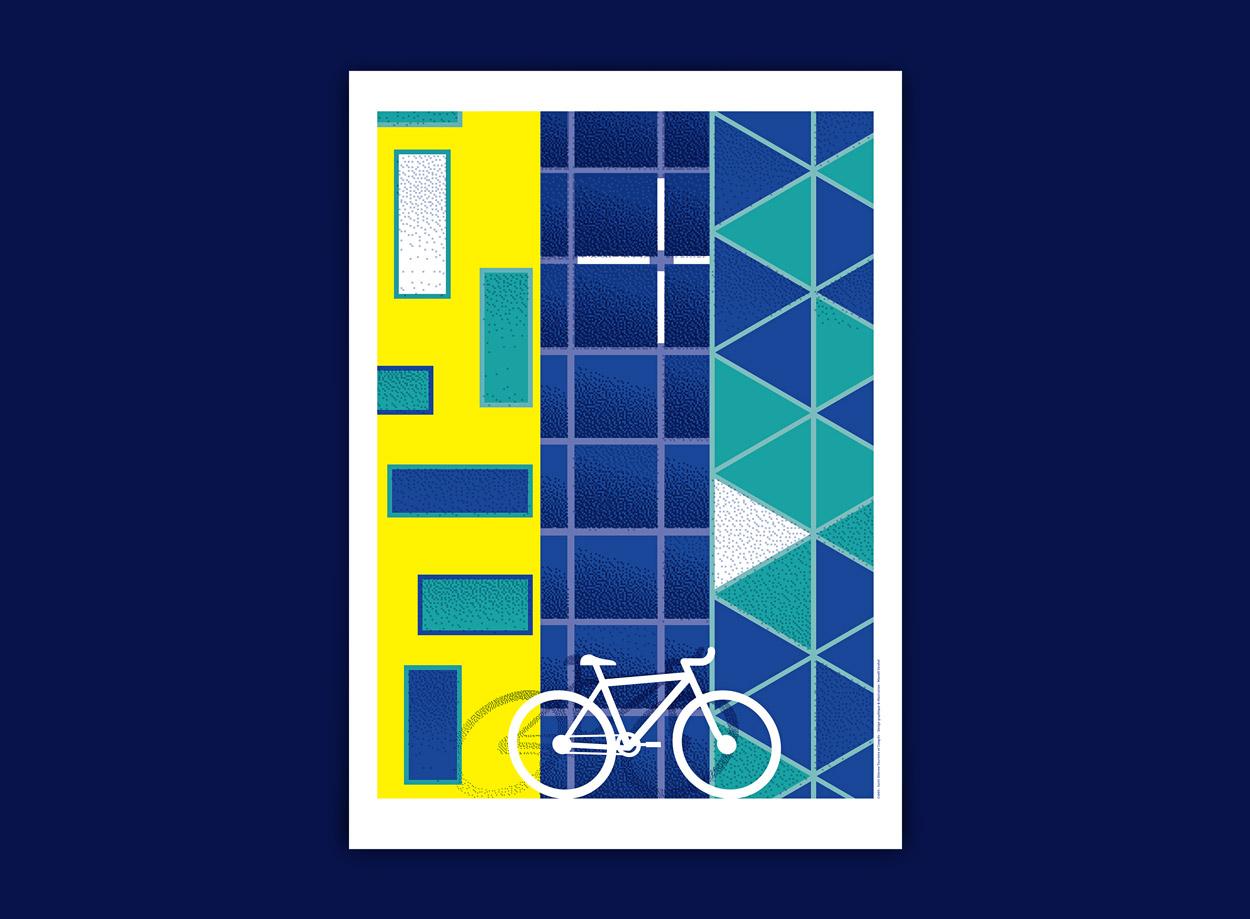 Affiche façades de Saint-Etienne, Cité Gruner, Musée d'arts modernes et cité du design
