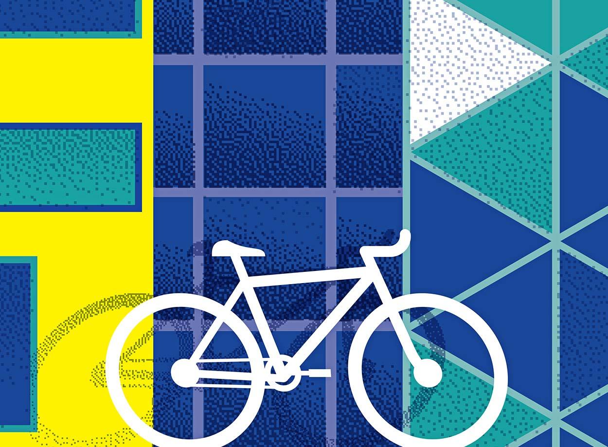 Détail affiche façades de Saint-Etienne, Cité Gruner, Musée d'arts modernes et cité du design