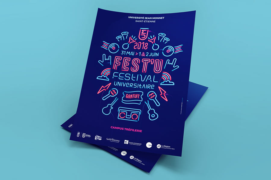 Affiche pour le festival universitaire de Saint-Etienne, le Fest'u