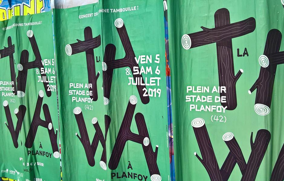 affiche du festival La tawa à Planfoy, conception du graphisme et des supports de communication