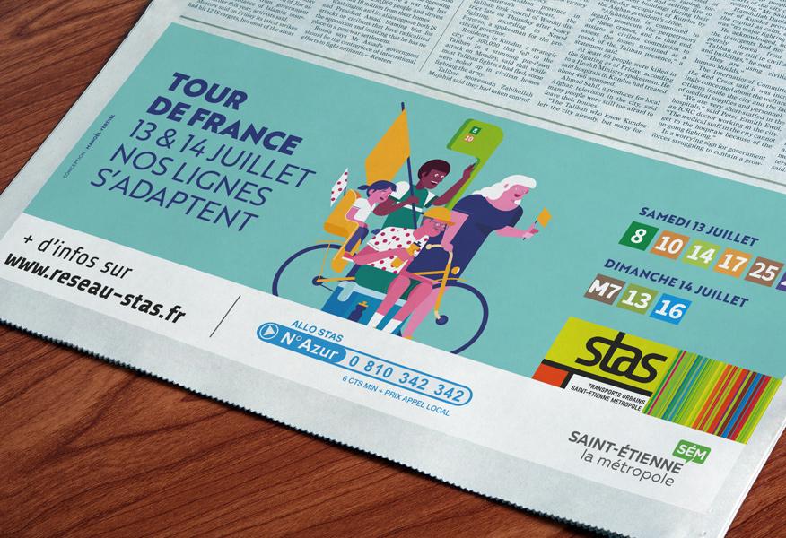 encart presse pour la Stas - illustration pour le Tour de France