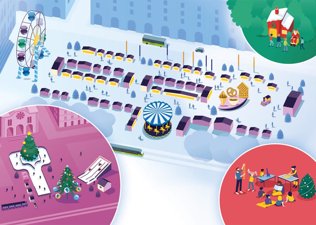 plan illustré marche de noël