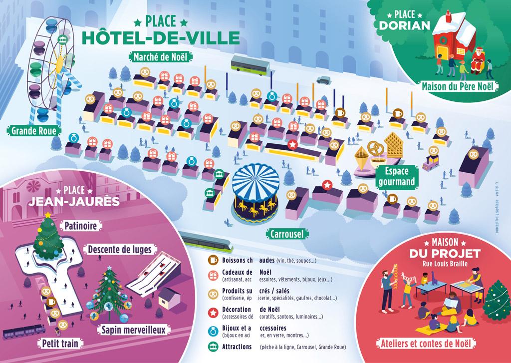 plan du marché de Noël de la ville de Saint-Etienne