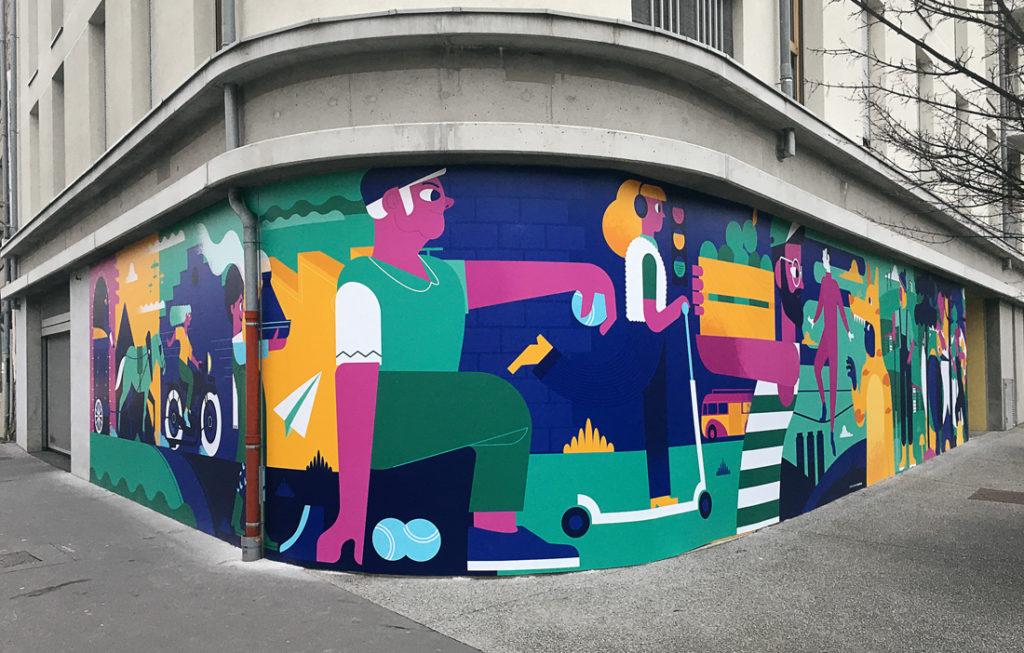 Fresque sur la façade d'un RDC à Monthieu à Saint-Etienne