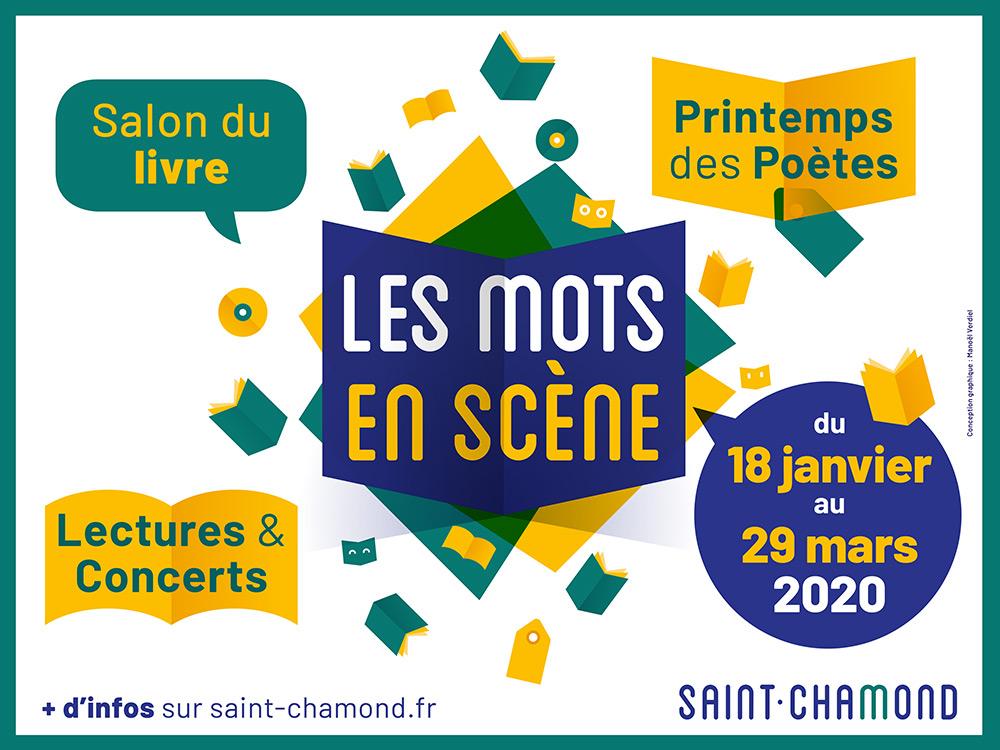 panneau d'affichage les mots en scène à St-Chamond